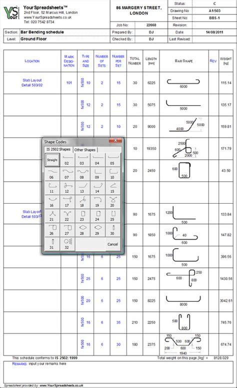 Bar Spreadsheet by Bar Bending Schedule Spreadsheet To Is 2502