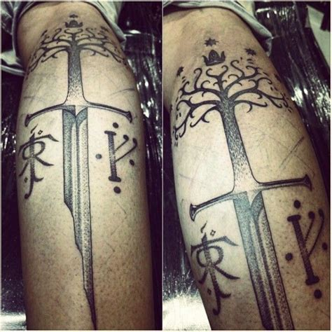 lotr tattoo lord of the rings the shards of narsil the white