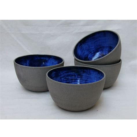 Handmade Bowl - handmade ceramic bowl in grey and cobalt blue homeware