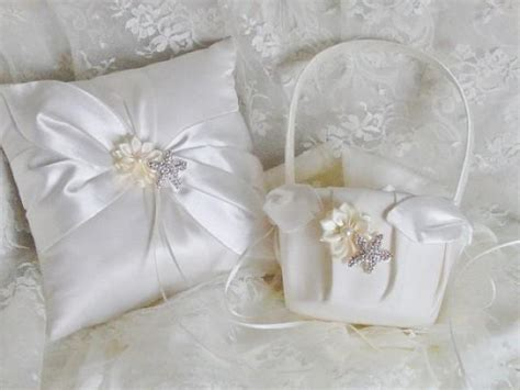 Wedding Pillow Sets by Wedding Ring Pillow Flower Basket Set Wedding Ring Bearer Pillow Pearl Starfish