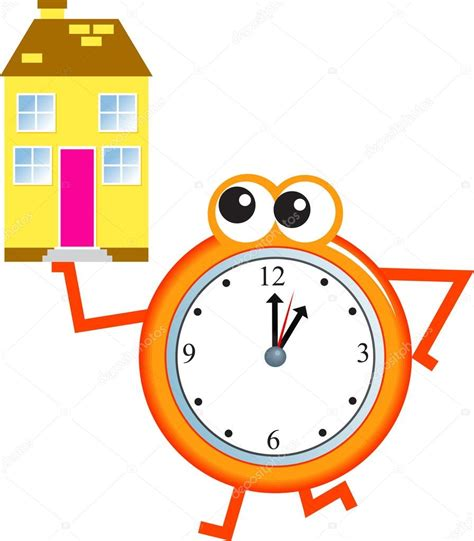 home time clock stock vector 64290485