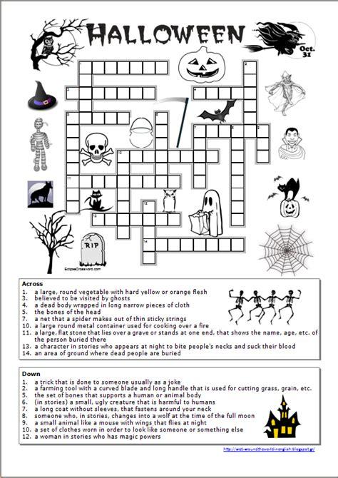 4 best images of halloween easy printable crossword around the world in english halloween crossword worksheet