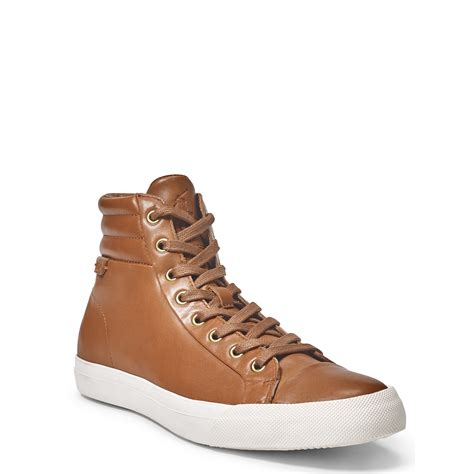 brown leather sneaker lyst polo ralph geffron leather sneaker in brown