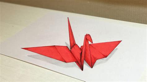 3d origami crane tutorial 3d drawing origami crane tutorial trick art youtube
