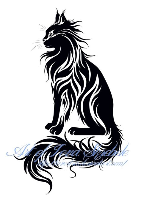 maine coon sit cat tribal tatoo tatoo iii cat