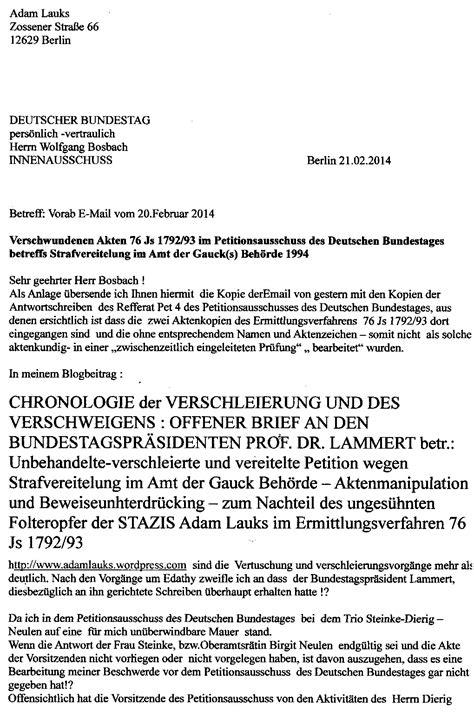 Ausfuhrlicher Lebenslauf Fur Die Bundespolizei An Den Herrn Bosbach Den Vorsitzenden Des Innenausschusses Zur Kenntnisnahme