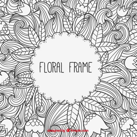 doodle vector free floral frame in doodle style vector premium