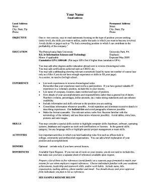 Linfield College Nursing Resume And Cover Letter Packet College Resume Template Forms Fillable Printable Sles For Pdf Word Pdffiller