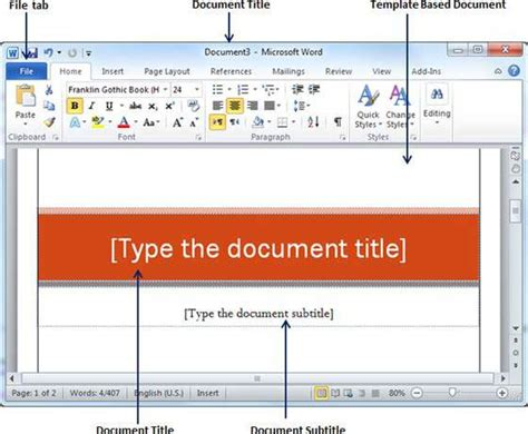 Word 2010 Document Template