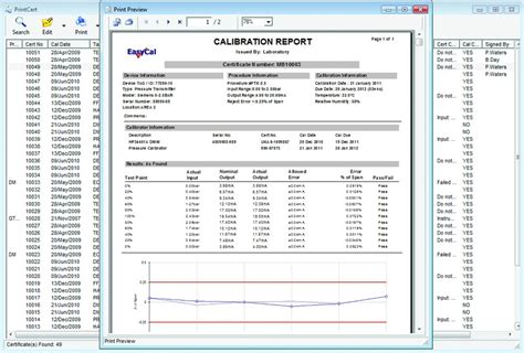 pressure calibration certificate template calbench calibration benches bench software