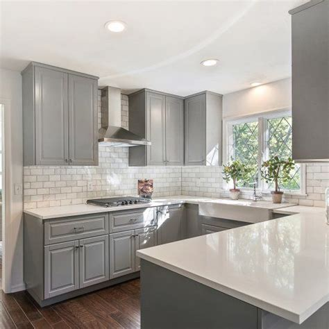 grey kitchen cabinets with white countertops gray shaker cabinets white quartz counter tops grecian