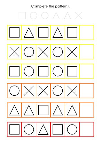 abc pattern using shapes shape patterns worksheets ab aab abb abc school