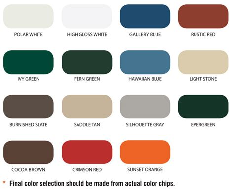 what color is a polar color selection panel profiles for metal steel buildings