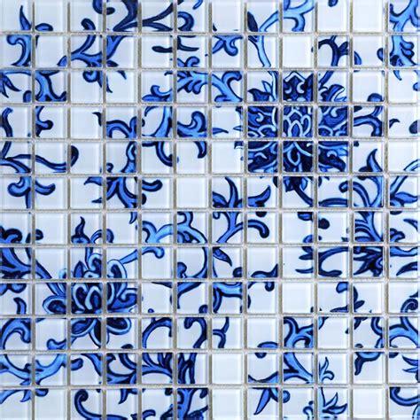 Blue Mosaic Badezimmeraccessoires by Glass Tile Blue White Puzzle Mosaic Tile Crackle