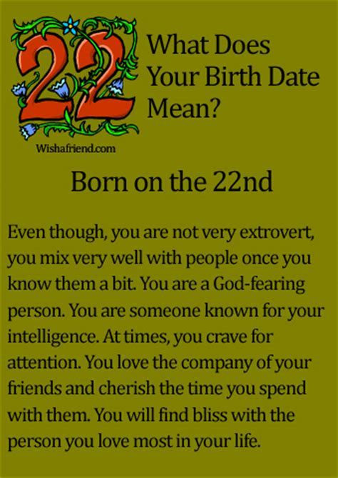 What Does Your Birth Date Mean?   Born on the 22nd