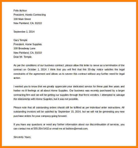 cancellation letter for service contract 11 termination letter sle letter format for