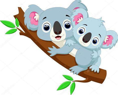 imagenes kawaii de koalas dibujos animados lindo koala y beb 233 en un 225 rbol vector