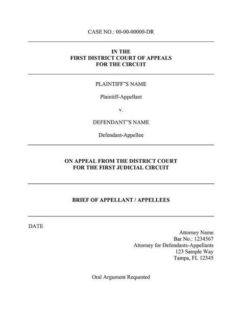 appellate brief cover page