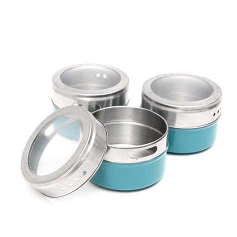 12pcs stainless steel magnetic spice tins storage
