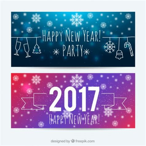 free vector new year banner happy new year with snowflakes banners vector free