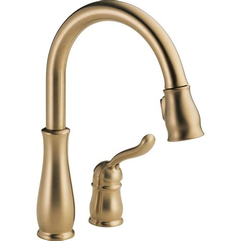 delta kitchen faucet bronze shop delta leland chagne bronze pull kitchen