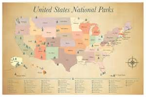 Map Of All National Parks In The United States by Sale United States National Parks Map Paper By Jwdesignstudio