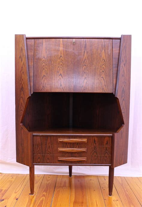 mid century modern rosewood corner cabinet by johannes
