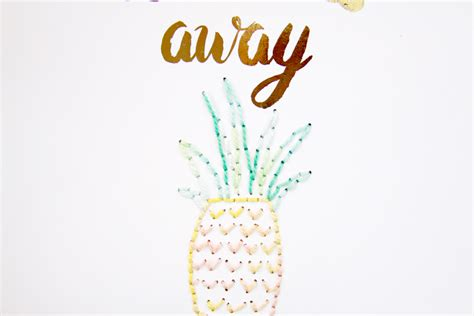 printable pineapple leaves stitched summer pineapple printable