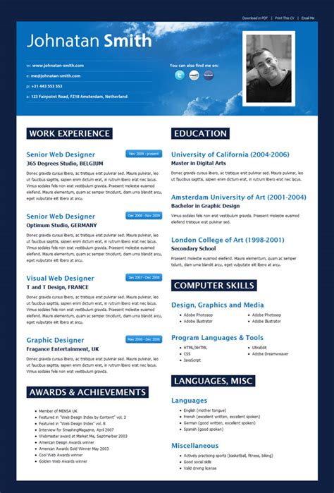 resume templates best html resume templates