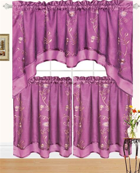 beya embroidered kitchen curtain swag tiers set purple