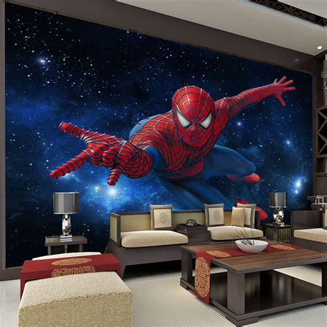spiderman bedroom custom super hero wall mural spider man photo wallpaper