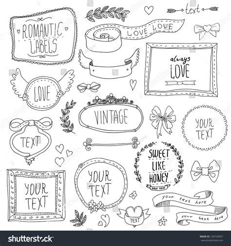 doodle ribbon free vintage label set handdrawn doodles design stock vector