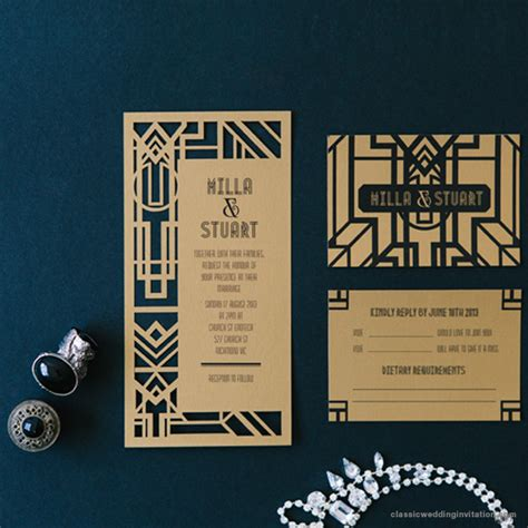 Wedding Invitations Gatsby by Great Gatsby Dl Invitation Classic Wedding Invitations