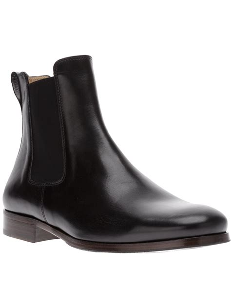 apc mens boots a p c black leather chelsea boots in black for lyst