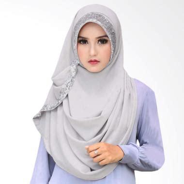 Pashmina Instan Ayda Pigeonn Grey jual fbo cotton bee zaskia sequins pashmina jilbab