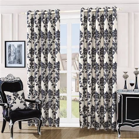Gc Damask Embossed Eyelet Curtains Cream Black
