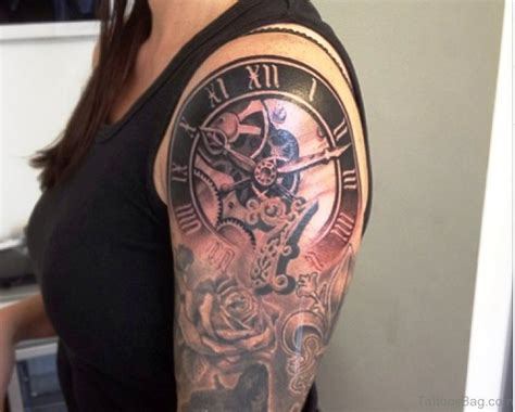 clock and rose tattoo designs 52 pretty clock tattoos on shoulder