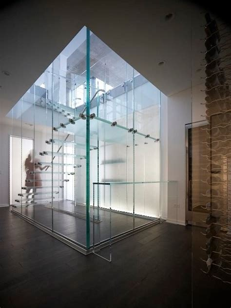 glass stair modern staircase chicago by thomas