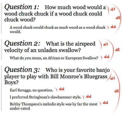 question and answer template using definition lists question answer formatting