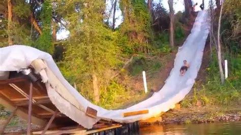 ft backyard slip    lake jump youtube