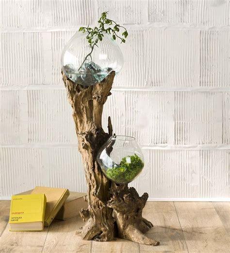 Bonvivo Designer Desk Massimo by Hand Blown Glass Bowls And Driftwood Art Sculpture