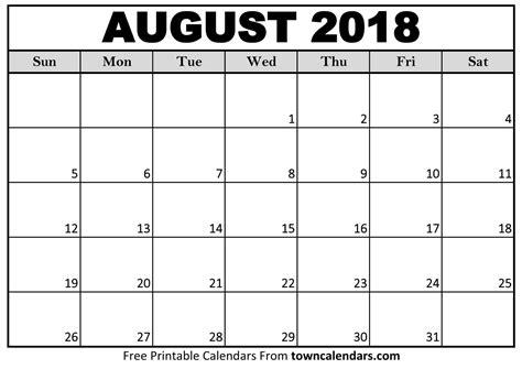 printable august 2018 calendar towncalendars
