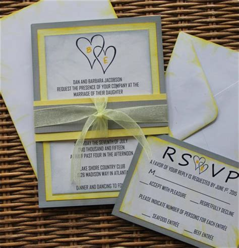 grey and yellow wedding invitations etsy 14 out of the box handmade wedding invitations