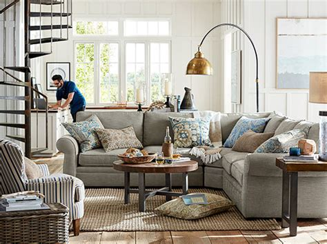 pottery barn living rooms pearce sectional farmhouse industrial living room