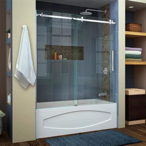 bathtub sliding doors lowes shop dreamline enigma air 60 in w x 62 in h frameless
