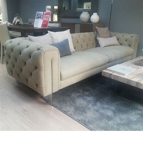 Ex Display Leather Sofas Ex Display Montague Large Leather Chesterfield Sofa L254cm
