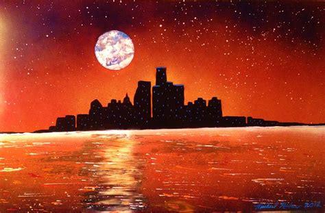 paint nite detroit detroit skyline painting by michael rucker