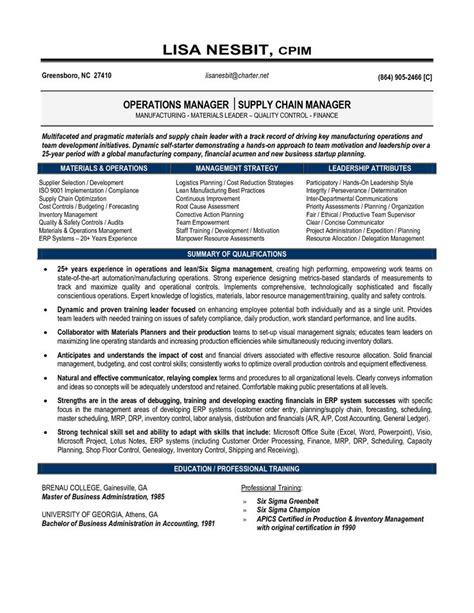 resume objective exles supply chain management resume