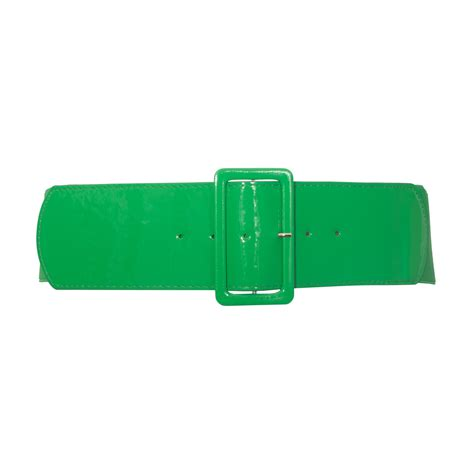 s wide patent leather fashion belt green evogues