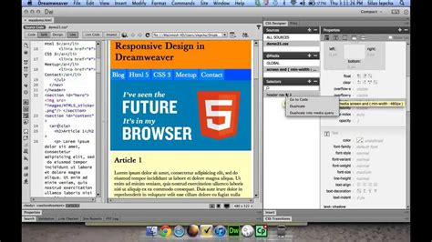 design html page using dreamweaver responsive web design using dreamweaver cc css designer